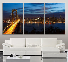 Extra LARGE Wall Art CANVAS Print San Francisco Bay Bridge and Skyline at Night with City Lights - Canvas San Francisco Cityscape Art-Wall Art Canvas-Extra Large Wall Art Canvas Print-Extra Large Wall Art Canvas Print
