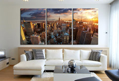 Extra Large Wall Art Canvas Print + Skyline Panorama New York Cityscape Canvas Print + Aerial view of New York Canvas Art Printing-Wall Art Canvas-Extra Large Wall Art Canvas Print-Extra Large Wall Art Canvas Print