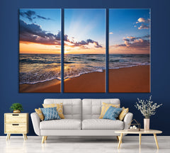 Extra LARGE Wall ART Canvas Print Sunset on Sea, Seascape Canvas Print, Large Wall Art Print, Sundown on Ocean Beach Canvas Print-Extra Large Wall Art Canvas Print