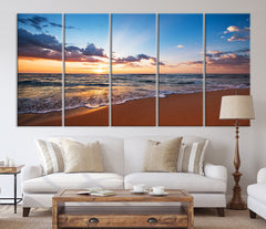 Extra LARGE Wall ART Canvas Print Sunset on Sea, Seascape Canvas Print, Large Wall Art Print, Sundown on Ocean Beach Canvas Print