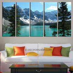 Extra Large Wall Art Canvas Print The Rockies - Moraine Lake Framed 5 Panel Canvas - Canada Landscape Art Canvas Print - MC24-Wall Art Canvas-Extra Large Wall Art Canvas Print-Extra Large Wall Art Canvas Print