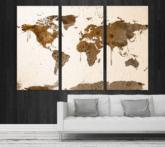 Extra Large Wall Art Canvas World Map Print - Watercolor Map Canvas - Crem Brown Watercolor World Map Canvas, Custom Color World Map Print-Wall Art Canvas-Extra Large Wall Art Canvas Print-Extra Large Wall Art Canvas Print