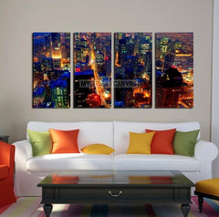 Extra Large Wall Art CHICAGO Canvas Print - Chicago Skyline at Night from the John Hancock Building-Wall Art Canvas-Extra Large Wall Art Canvas Print-Extra Large Wall Art Canvas Print