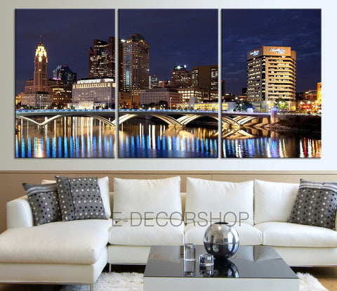 Extra Large Wall Art Columbus Ohio Skyline Night Canvas Print - Black and White Ohio Large Wall Art Canvas Print -Wall Art Canvas-Extra Large Wall Art Canvas Print-Extra Large Wall Art Canvas Print