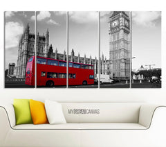 Extra Large Wall Art London City and Red Bus Canvas Printing-Wall Art Canvas-Extra Large Wall Art Canvas Print-Extra Large Wall Art Canvas Print