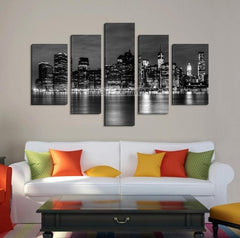 Extra Large Wall Art NEW YORK Canvas Prints - Black and White New York City from Manhattan View-Wall Art Canvas-Extra Large Wall Art Canvas Print-Extra Large Wall Art Canvas Print