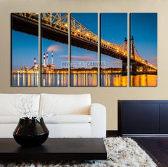 Extra Large Wall Art NEW YORK Canvas Prints - Ed Koch (aka Queensboro) Bridge and the Ravenswood Generating Station at Dusk-Wall Art Canvas-Extra Large Wall Art Canvas Print-Extra Large Wall Art Canvas Print