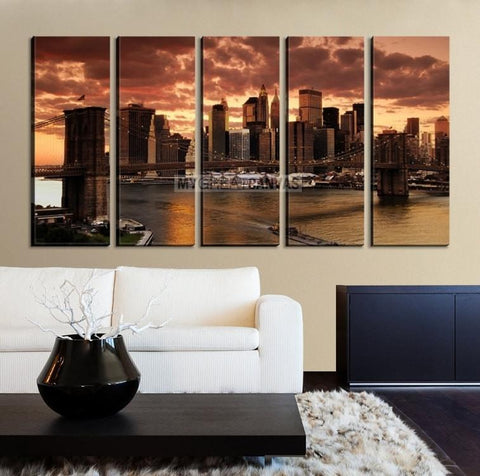 Extra Large Wall Art NEW YORK Canvas Prints - Wonderful Brooklyn Bridge and New York City at Sunset-Wall Art Canvas-Extra Large Wall Art Canvas Print-Extra Large Wall Art Canvas Print