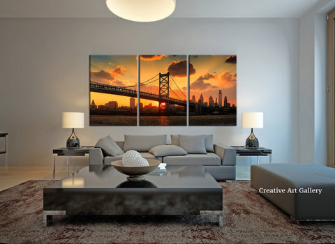 Extra Large Wall Art - Panorama Philadelphia Cityscape Canvas Print, Philadelphia Sunset Canvas Print, Ben Franklin Bridge Canvas Print-Wall Art Canvas-Extra Large Wall Art Canvas Print-Extra Large Wall Art Canvas Print