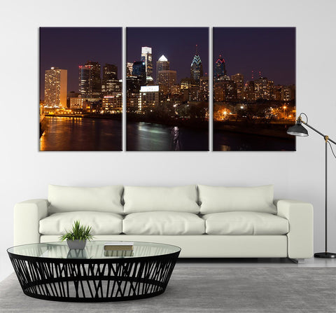 Extra Large Wall Art - Philadelphia Cityscape Canvas Print, Philadelphia Sunset Canvas Print, Philadelphia Skyscrapers Art Print-Wall Art Canvas-Extra Large Wall Art Canvas Print-Extra Large Wall Art Canvas Print