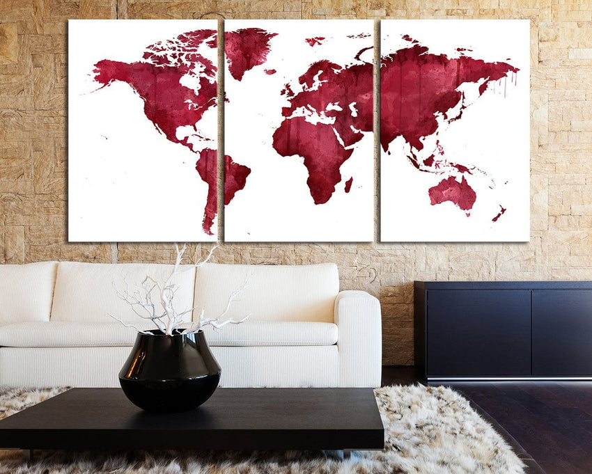 Extra Large Wall Art Pink and Burgundy World Map Canvas Print - 3 Pieces Triptych World Map Canvas Art Large Wall Art - Custom Color-Wall Art Canvas-Extra Large Wall Art Canvas Print-Extra Large Wall Art Canvas Print
