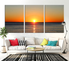 Extra LARGE wall ART - Sunset on Sea Canvas Print, Seascape Canvas Print, Large Wall Art Print, Sundown on Ocean Beach Canvas Print-Extra Large Wall Art Canvas Print