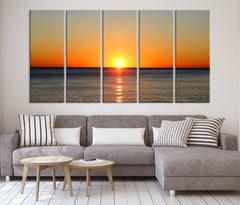 Extra LARGE wall ART - Sunset on Sea Canvas Print, Seascape Canvas Print, Large Wall Art Print, Sundown on Ocean Beach Canvas Print