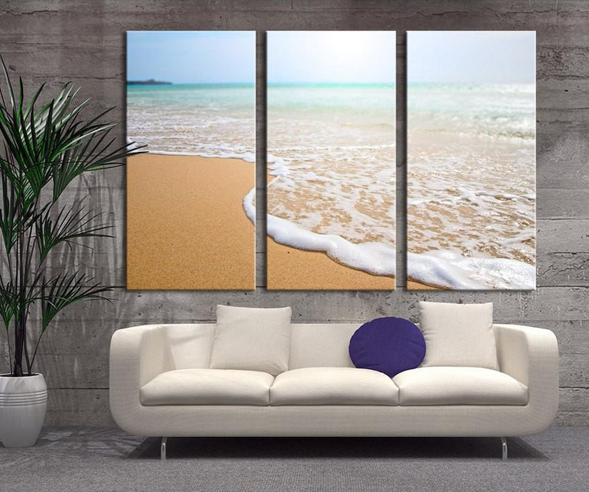 Extra large wall art - Wave foam at Beach, Wave on Beach Large Wall Art Canvas Print - MC73-Extra Large Wall Art Canvas Print