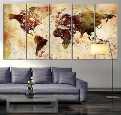 Extra Large Watercolor World Map Print, World Map Wall Art, Canvas Art Print Brown Watercolor World Map , Large Wall Color Splashed on Map,-Wall Art Canvas-Extra Large Wall Art Canvas Print-Extra Large Wall Art Canvas Print