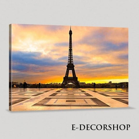 France Paris Eiffel Tower and Sunset Art Canvas Printing Framed Ready Hang Wall | Eiffel Tower Canvas Printing-Wall Art Canvas-Extra Large Wall Art Canvas Print-Extra Large Wall Art Canvas Print