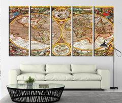 Fullcolor Ancient World Map Canvas Art Print, Colored Historical World Map No:098-Wall Art Canvas-Extra Large Wall Art Canvas Print-Extra Large Wall Art Canvas Print