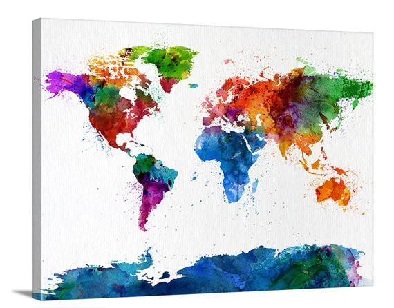 Fullcolor Watercolor World Map Canvas Wall Art, Home Decor, No:052-Wall Art Canvas-Extra Large Wall Art Canvas Print-Extra Large Wall Art Canvas Print