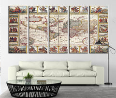 Geographic Ancient World Map Ancient Canvas Art Print, Historical World Map No:087-Wall Art Canvas-Extra Large Wall Art Canvas Print-Extra Large Wall Art Canvas Print