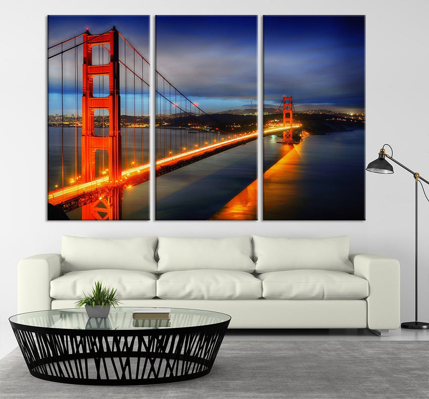 Golden Gate Bridge Large Art Canvas Print - San Francisco California Golden Gate Bridge Canvas Print, Framed and Streched-Wall Art Canvas-Extra Large Wall Art Canvas Print-Extra Large Wall Art Canvas Print