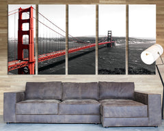 Golden Gate Bridge Large Wall Art Canvas Print, Red Color Golden Gate Wall Art Canvas Print-Wall Art Canvas-Extra Large Wall Art Canvas Print-Extra Large Wall Art Canvas Print