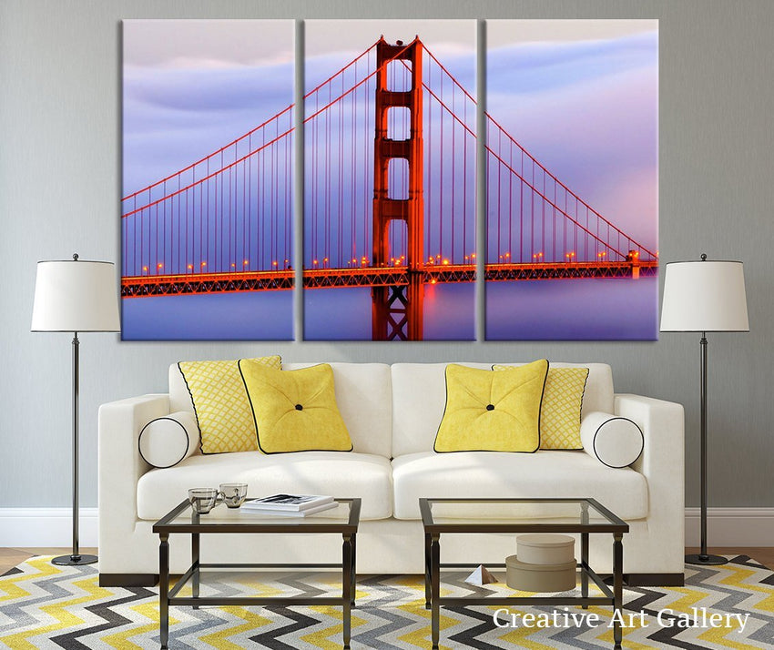 Golden Gate Bridge Oversize Art Canvas Print - San Francisco Canvas Art - Golden Gate Bridge Canvas Print, New York Print, Ready to Hanging-Wall Art Canvas-Extra Large Wall Art Canvas Print-Extra Large Wall Art Canvas Print
