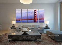 Golden Gate in Fog at Sunset Large Wall Art Canvas Print, Extra Large Skyline San Francisco Wall Art Print-Wall Art Canvas-Extra Large Wall Art Canvas Print-Extra Large Wall Art Canvas Print