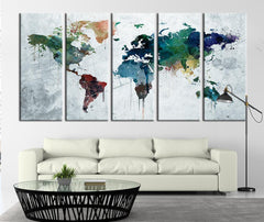 Gray Background Watercolor World Map Canvas Print, Large Wall Art Gray Background Watercolor World Map Canvas Art Print No:018-Wall Art Canvas-Extra Large Wall Art Canvas Print-Extra Large Wall Art Canvas Print