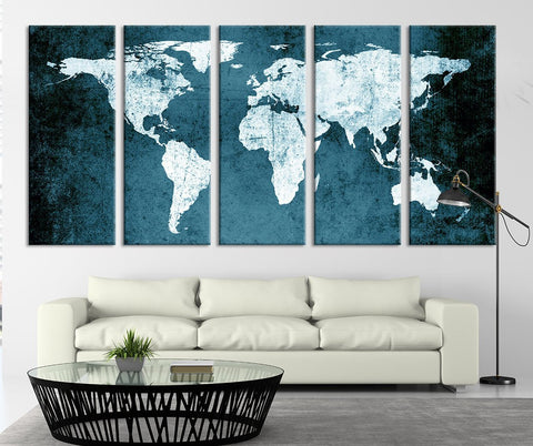 Green World Map - Turquoise Grunge Wall Art World Map Canvas Print - 5 Panel Large Map Canvas Print-Wall Art Canvas-Extra Large Wall Art Canvas Print-Extra Large Wall Art Canvas Print