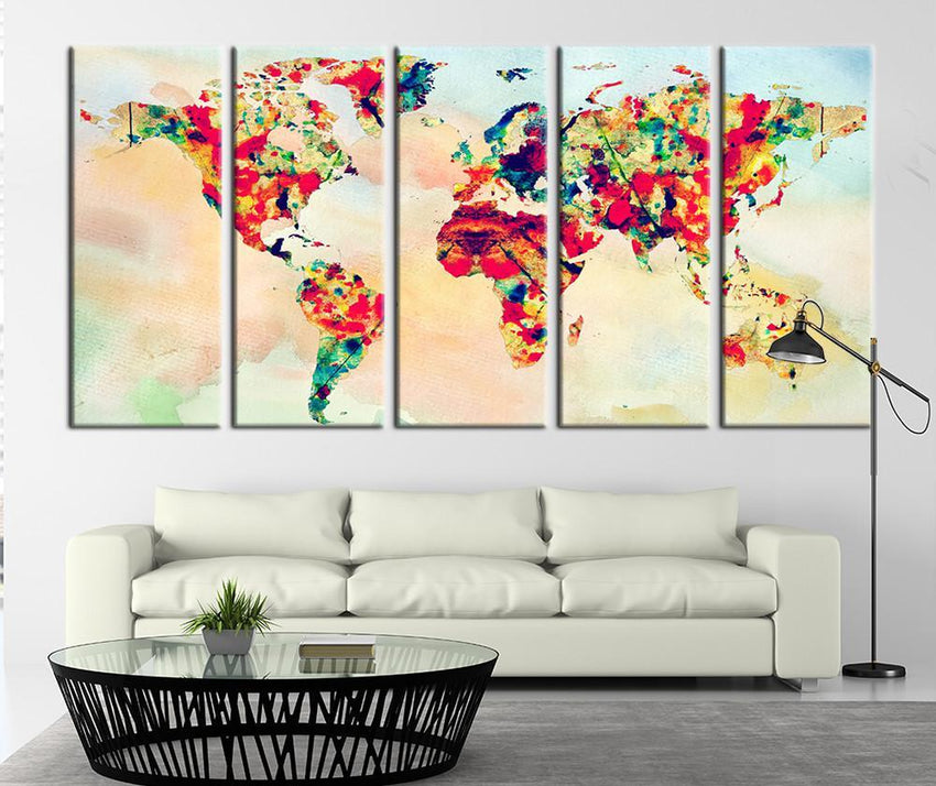 Grunge World Map Art Canvas Print, Vintage Map Home Decor No:104-Wall Art Canvas-Extra Large Wall Art Canvas Print-Extra Large Wall Art Canvas Print