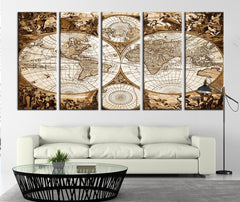 Historical World Map Canvas Print, Old Age World Map Art Home Decor No:106-Wall Art Canvas-Extra Large Wall Art Canvas Print-Extra Large Wall Art Canvas Print
