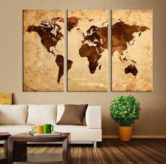 Large Art Canvas Print - Brown Retro Watercolor World Map on Old Paper Canvas Print, Retro 3 Panel Map Art Print, Grunge World Map Art Print - MC52-Wall Art Canvas-Extra Large Wall Art Canvas Print-Extra Large Wall Art Canvas Print