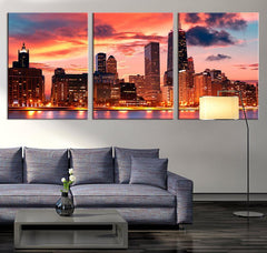 LARGE ART Canvas Print - Chicago Skyline and Sunset- Chicago Canvas Art - Chicago Canvas Print, Chicago Blue Sunset Print, Ready to Hanging-Wall Art Canvas-Extra Large Wall Art Canvas Print-Extra Large Wall Art Canvas Print