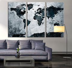 Large Art Canvas Print - Grunge World Map on Metal Texture Canvas Print, 3 Panel Map Art Print, Grunge World Map Art Print-Wall Art Canvas-Extra Large Wall Art Canvas Print-Extra Large Wall Art Canvas Print