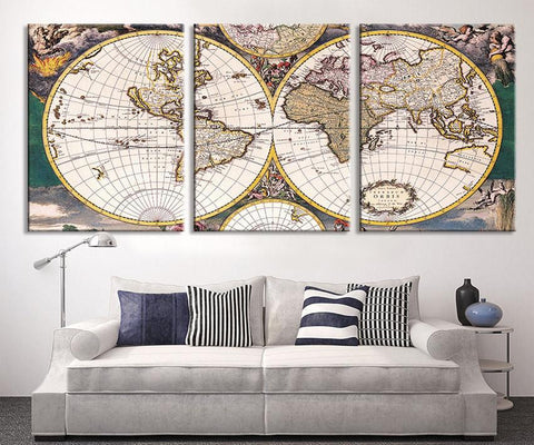 Large Art CANVAS PRINT - World Map Canvas Art Print, Vintage World Map Art Print, Extra Large Retro World Map Print-Wall Art Canvas-Extra Large Wall Art Canvas Print-Extra Large Wall Art Canvas Print