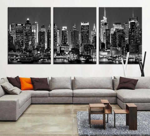 Large Art - Panorama Manhattan Night Cityscape, Manhattan Large Wall Art Canvas Print, New York City Wall Art Canvas Print - MC67-Wall Art Canvas-Extra Large Wall Art Canvas Print-Extra Large Wall Art Canvas Print