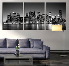 Large Art Print - Panorama Manhattan Night Cityscape, Manhattan Large Wall Art Canvas Print, New York City Wall Art Canvas Print-Wall Art Canvas-Extra Large Wall Art Canvas Print-Extra Large Wall Art Canvas Print