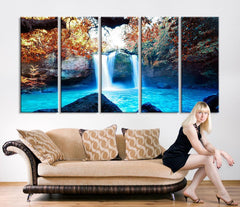 Large Art Print - Waterfalls in Forest Canvas Prints - Waterfalls and Lake Large Art Canvas Printing - Extra Large Canvas Wall Art Print - MC191-Wall Art Canvas-Extra Large Wall Art Canvas Print-Extra Large Wall Art Canvas Print