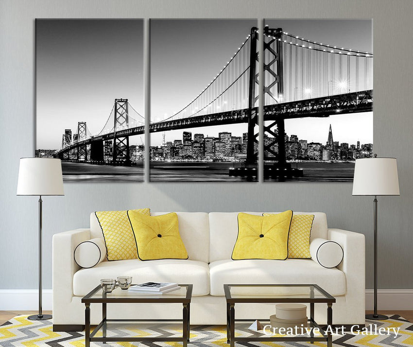 Large Art San Francisco Skyline and Bay Bridge at Sunset, California Canvas Print, Extra Large Skyline San Francisco Wall Art Print - MC42-Wall Art Canvas-Extra Large Wall Art Canvas Print-Extra Large Wall Art Canvas Print