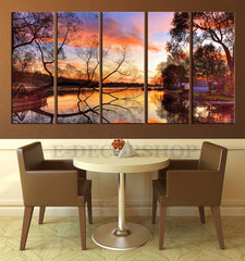 LARGE CANVAS ART - 5 Panel Lake and Autumn Art Canvas Print - Autumn and Tree Canvas Paiting-Wall Art Canvas-Extra Large Wall Art Canvas Print-Extra Large Wall Art Canvas Print