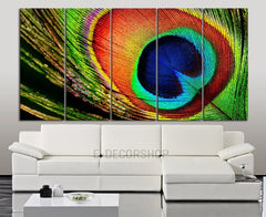 LARGE CANVAS ART - 5 Panel Peacock Feather Canvas Print - Peacock Canvas Art Print Wall Mural-Wall Art Canvas-Extra Large Wall Art Canvas Print-Extra Large Wall Art Canvas Print