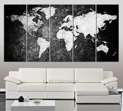 LARGE CANVAS ART - Black White World Map Canvas Print - World Map 5 Piece Canvas Art Print-Wall Art Canvas-Extra Large Wall Art Canvas Print-Extra Large Wall Art Canvas Print