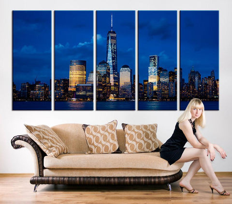 Large Canvas Art - Manhattan Night Canvas Art Print, Wall Art Black White New York City Art, Extra Large Skyline Manhattan Wall Art Print-Wall Art Canvas-Extra Large Wall Art Canvas Print-Extra Large Wall Art Canvas Print