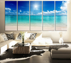 LARGE CANVAS ART Print Sea and Beach - Art Canvas Print for Home Decoration, Large Seascape Beach Canvas Prints - MC88-Extra Large Wall Art Canvas Print