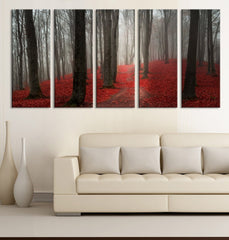 LARGE CANVAS ART - Red Forest with Fog in Autumn Canvas Prints, Prints For Wall, Autumn Prints On Canvas, Cotton Canvas 100% Quality-Wall Art Canvas-Extra Large Wall Art Canvas Print-Extra Large Wall Art Canvas Print