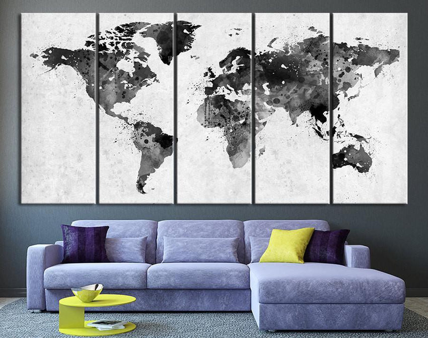 Large Canvas Art Set - World Map Canvas Art Print, Gray Large Wall Art World Map Art, Extra Large Watercolor World Map Print for Wall Decor-Wall Art Canvas-Extra Large Wall Art Canvas Print-Extra Large Wall Art Canvas Print