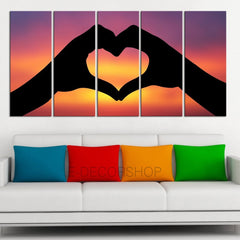 LARGE CANVAS ART - Sunset and Love Canvas Art Prints For Wall, 5 Panels Framed Ready to Hang, Prints On Canvas, Large Canvas Print-Extra Large Wall Art Canvas Print