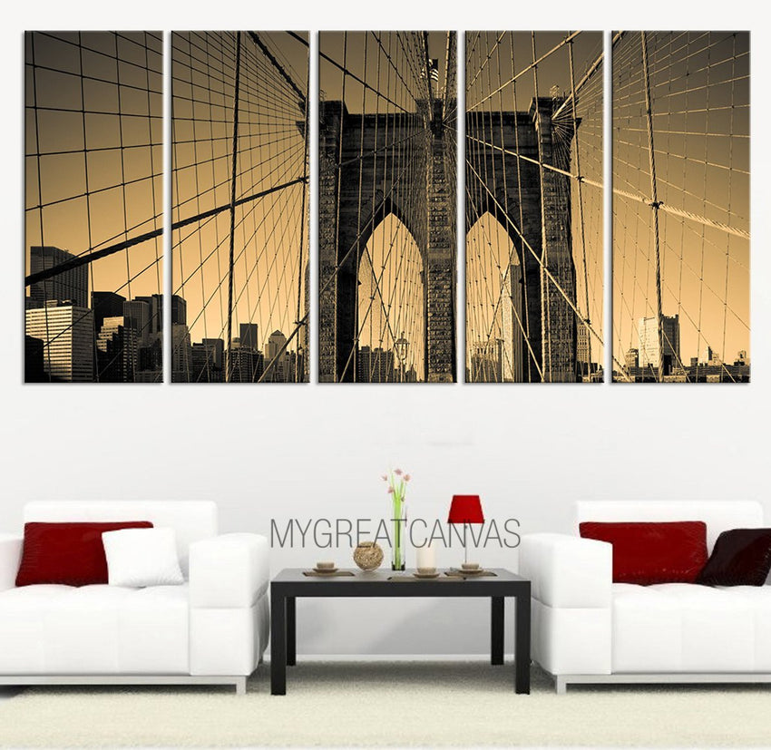 LARGE CANVAS ART - Wall Art Canvas Print Brooklyn Bridge 5 Panel Wall Art + Ready to Hang + Stretched on Deep 3cm Frame-Wall Art Canvas-Extra Large Wall Art Canvas Print-Extra Large Wall Art Canvas Print
