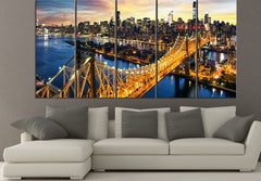 LARGE CANVAS ART - Wall Art Canvas Print New York City- Amazing Sunset over Manhattan with Queensboro Bridge Night Wall Art-Wall Art Canvas-Extra Large Wall Art Canvas Print-Extra Large Wall Art Canvas Print