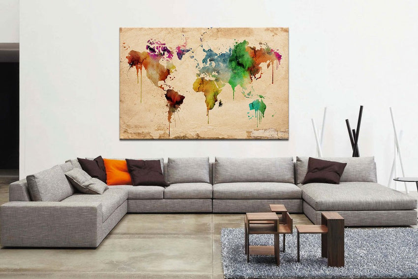 Large Canvas Art Watercolor World Map , Large Wall Art Color World Map Urban, Watercolor World Map Print, Grunge World Map, Large Map Canvas-Wall Art Canvas-Extra Large Wall Art Canvas Print-Extra Large Wall Art Canvas Print